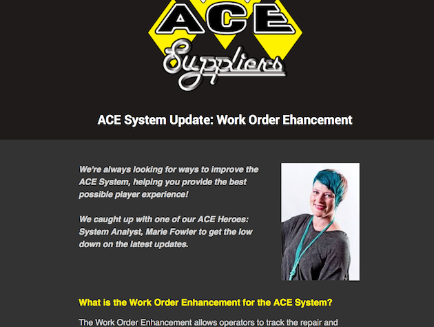 ACE System Update: Work Order Enhancement